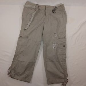 Apt 9 Khaki Utility Capris With Silver cloth belt